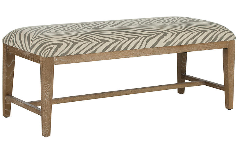 Stella Linen Zebra Bench - Gray/Off-White