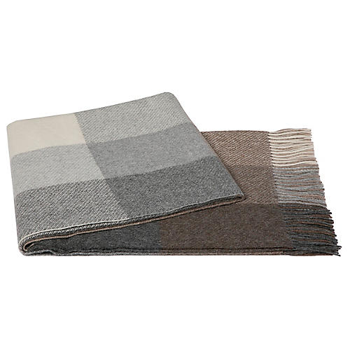 Checkered Alpaca Throw, Gray/Brown
