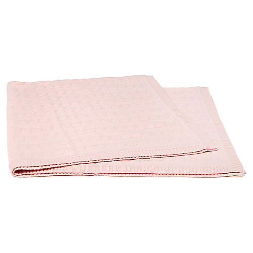 Cable-Knit Cashmere-Blend Baby Blanket, Baby Pink