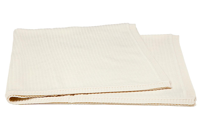 Rib-Knit Cashmere-Blend Baby Blanket, Crème Fraiche