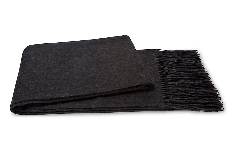 Cashmere-Blend Throw, Charcoal