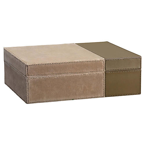 "10"" Aria Velvet & Leather Box, Taupe"