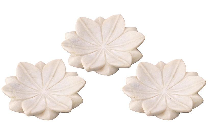 S/3 Small Lotus Vide-Poches, White