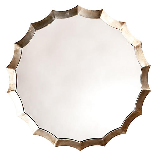 Leon Wall Mirror, Antiqued Silver