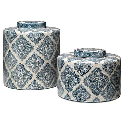 Asst. of 2 Oran Jars, Blue/White