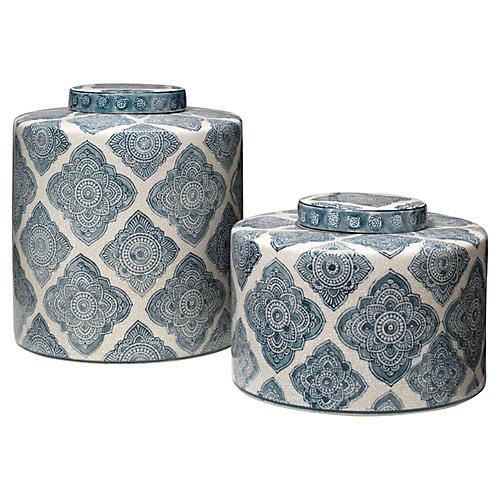 Asst. of 2 Oran Jars, Blue/White