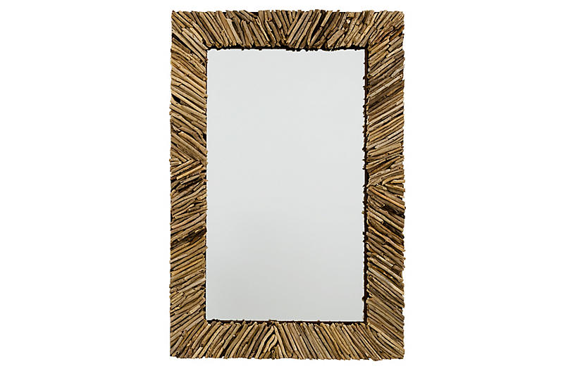 Romy Rectangle Mirror, Natural Driftwood