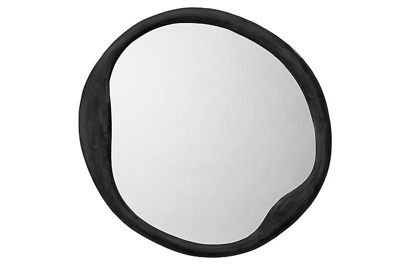 Organic Round Wall Mirror, Antique Iron