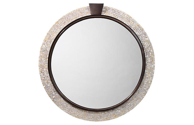 Thea Wall Mirror, Pearl/Bronze