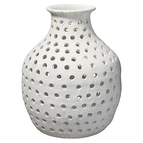 """17"""" Porous Small Vase, White"""