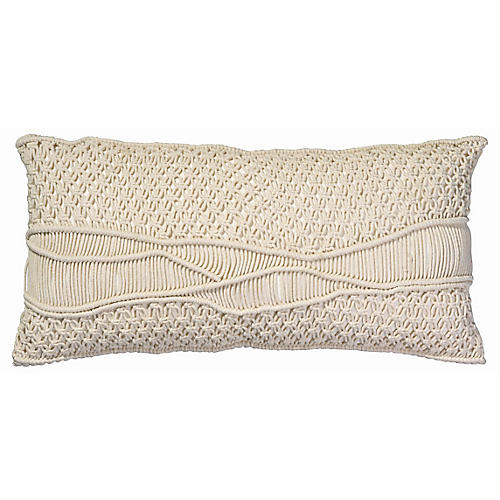 Indio 14x28 Macramé Pillow, Cream