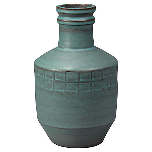 "11"" Folk Vase, Powder Blue"