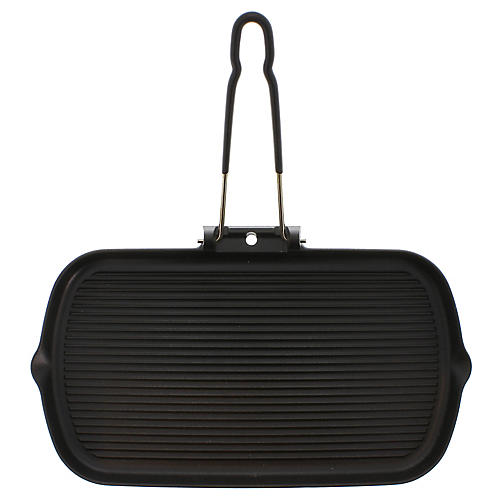 Chasseur Folding Handle Cast Iron Grill Pan, Black
