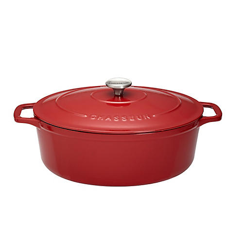 6-Qt Chasseur Oval Cast Iron Crockpot, Red