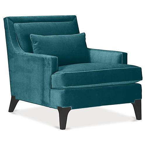 Norwich Accent Chair, Dark Turquoise Velvet