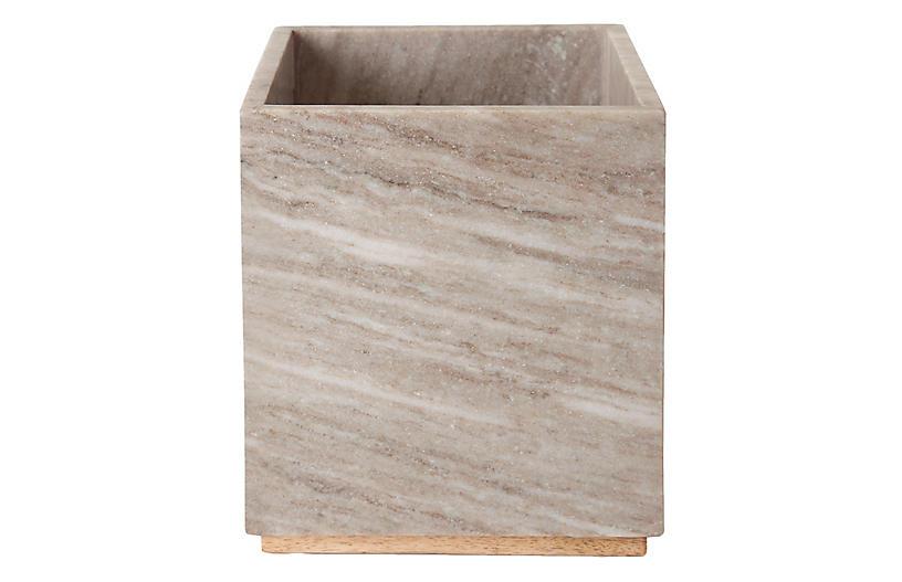 San Marino Waste Basket, Beige Marble/Wood