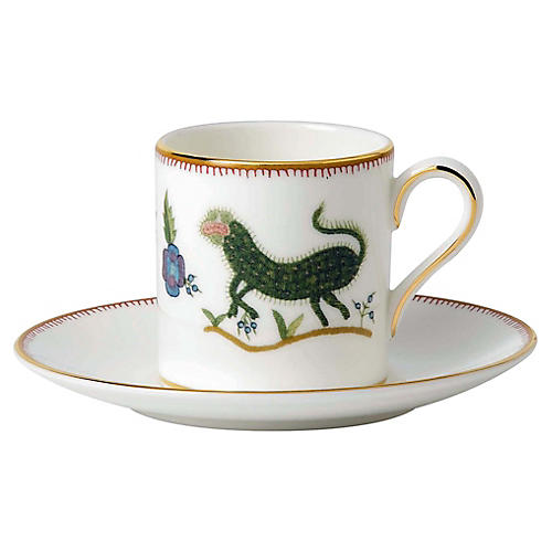 Mythical Creatures Espresso Cup & Saucer, White