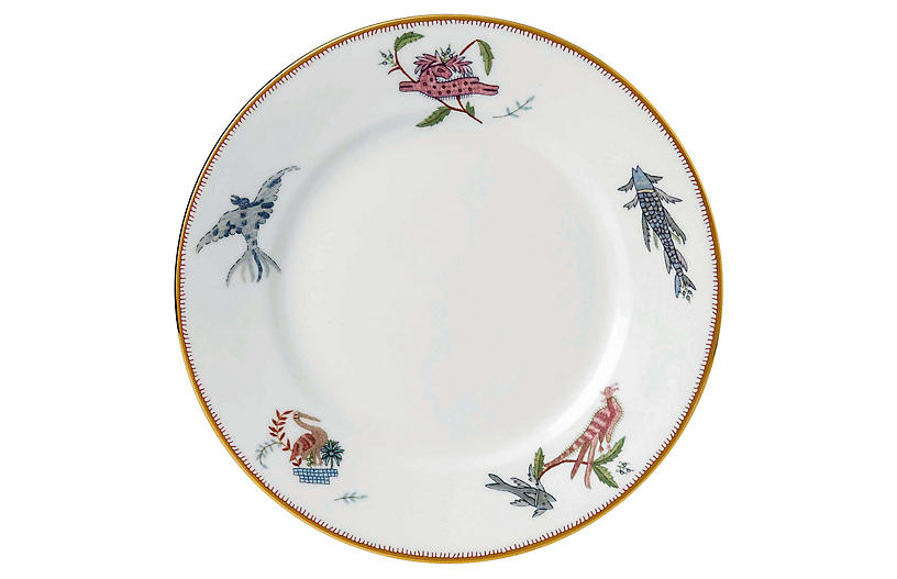 Mythical Creatures Salad Plate, White/Multi