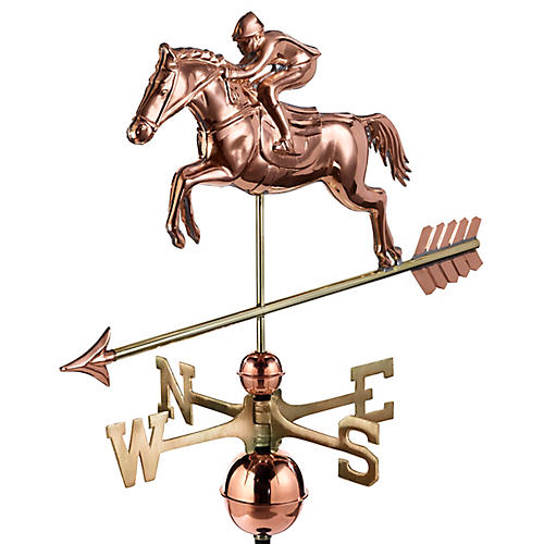 "36"" Horse & Rider Weather Vane, Copper"