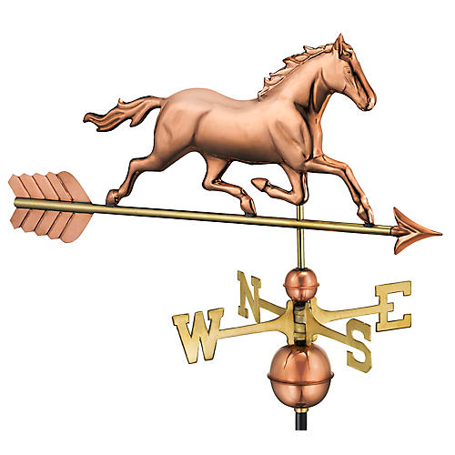 "33"" Trotting Horse Weather Vane, Copper"