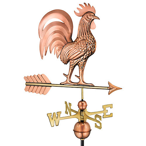 "30"" Proud Rooster Weather Vane, Copper"