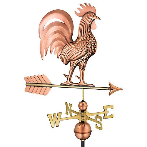 "30"" Proud Rooster Weather Vane, Copper"