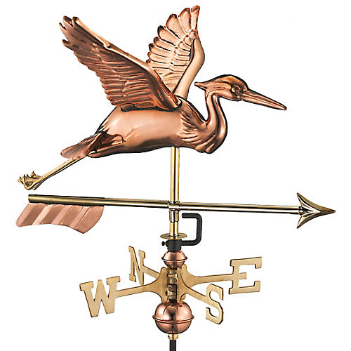 "26"" Heron & Arrow Cottage Weather Vane, Copper"