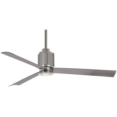 Gear LED Ceiling Fan, Polished Nickel