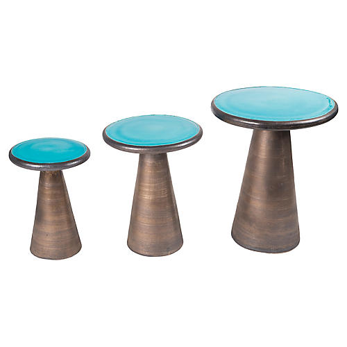 Asst. of 3 Segment Side Tables, Turquoise