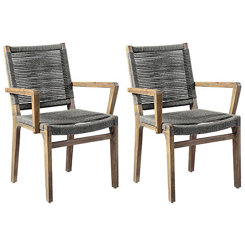 S/2 Oceans Outdoor Armchairs, Gray