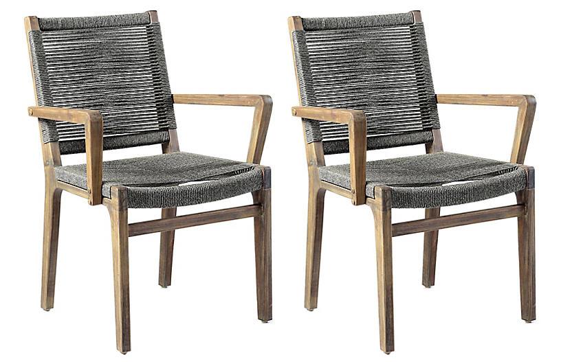 S/2 Oceans Outdoor Armchairs, Gray