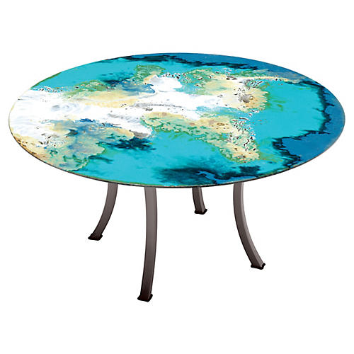Etna Round Dining Table, Blue Volcanic Rock