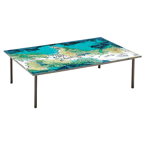 Etna Coffee Table, Blue Volcanic Rock