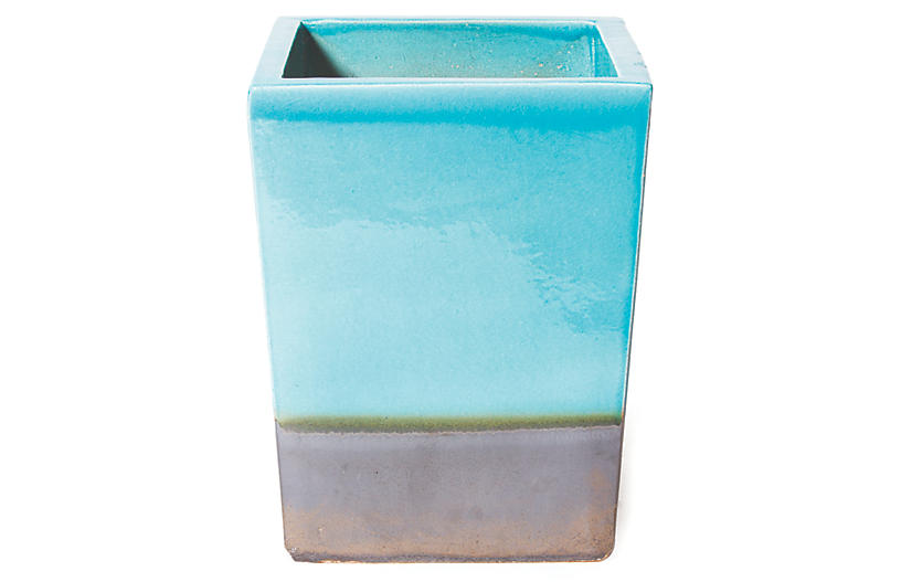 S/2 Cube Planter, Turquoise