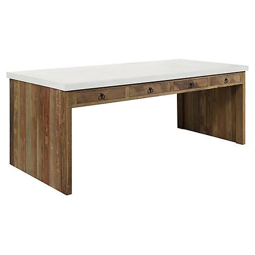 Par Concrete Dining Table, Ivory