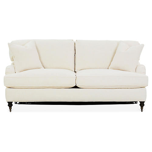 Brooke Sleeper Sofa, Ivory Crypton