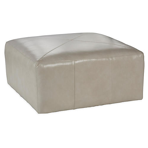 Kinson Cocktail Ottoman, Oyster Leather