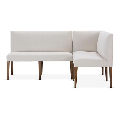 Reeves Right-Facing Banquette, Ivory Crypton