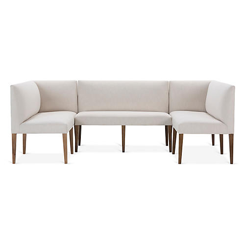 Reeves 3-Pc Banquette, Ivory Crypton