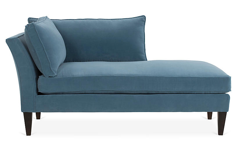 Kelsey Right-Facing Chaise, Colonial Blue Crypton