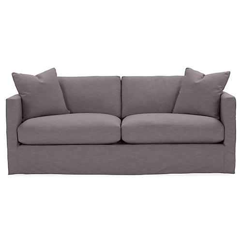 Shaw Slipcover Sofa, Charcoal Crypton