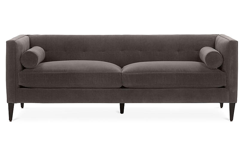 Georgina Tufted Sofa, Charcoal Crypton