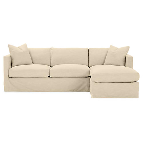 Shaw Right-Facing Sectional, Bisque Crypton