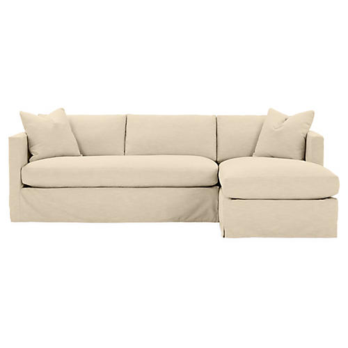 Shaw Right Bench-Seat Sectional, Bisque Crypton