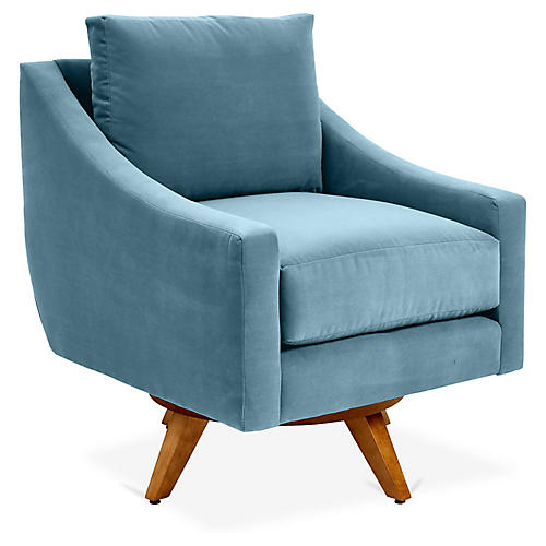 Nash Swivel Glider Chair, Colonial Blue Crypton