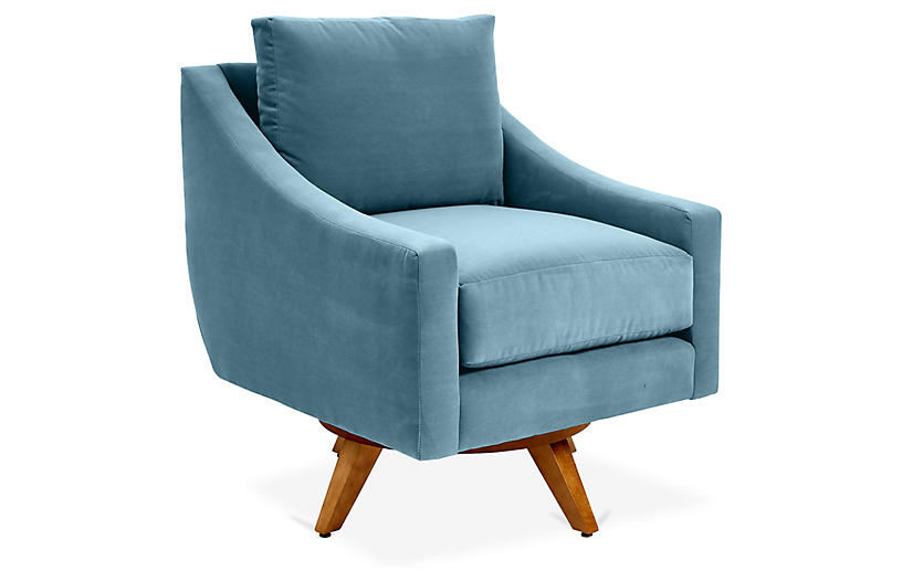 Nash Swivel Chair, Colonial Blue Crypton