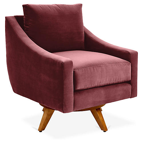 Nash Swivel Glider Chair, Berry Crypton