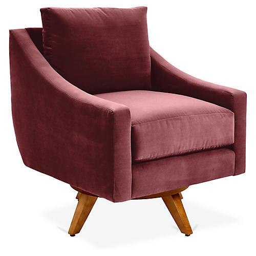 Nash Swivel Chair, Berry Crypton