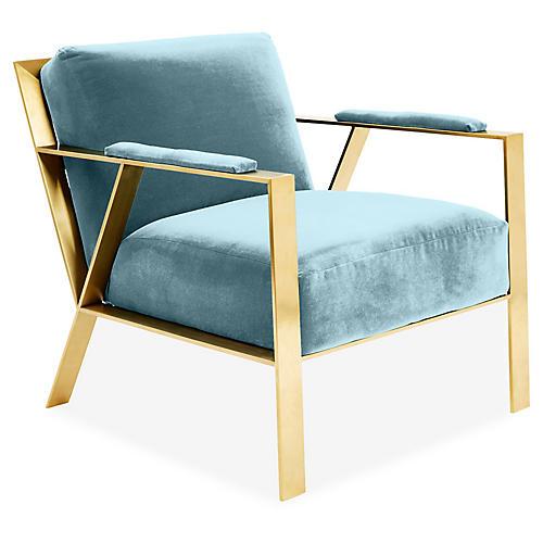 Bergen Accent Chair, Light Blue Crypton