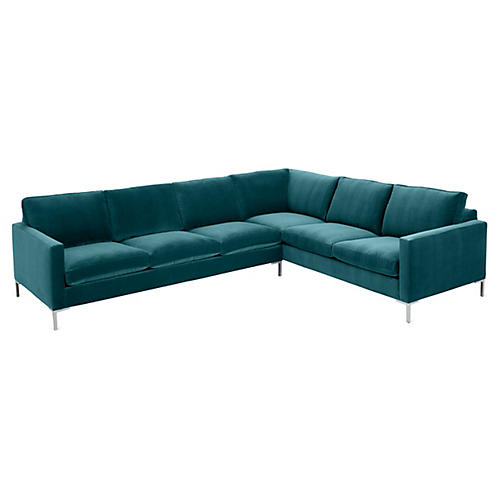 Amia Right-Facing Sectional, Peacock Crypton